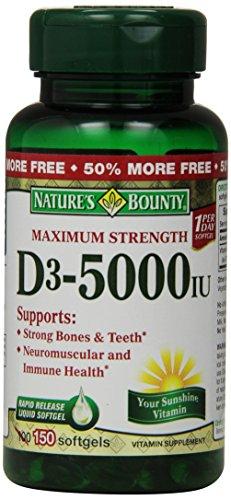 Nature'S Bounty Maximum Strength D3 5000Iu, 150 Softgels