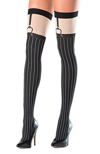 Costume Adventure Women's Black Pinstripe Gangster Costume Thigh High Stockings