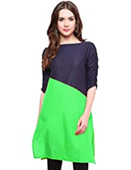 Varibha Girl's Branded Stitched Solid Blue & Green Cotton Silk Low Price Kurti (Best Gift For Your Friend, Girlfriend...
