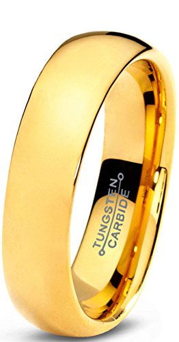 Tungsten Wedding Band Ring 5mm for Men Women Comfort Fit 18K Yellow Gold Plated Domed Polished Size 10