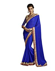 Alluring Blue Bhagalpuri Saree With Blouse.