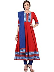 Red Blue Cotton Suit Set By Magnetic Designs