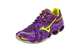 Mizuno Women\'s Wave Tornado 7 Volleyball Shoe,Purple/Yellow,9.5 B US