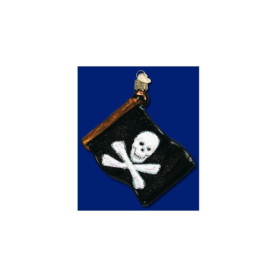 Mercks Family Old World Christmas ornament glass Jolly roger pirate flag 4 1/2