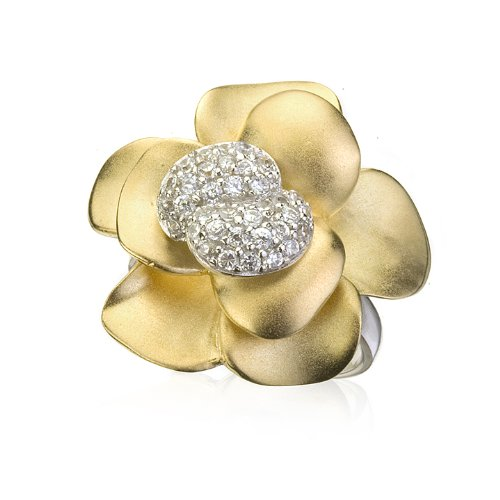 BEAUTIFUL FLOWER RING IN GOLD SATIN & WHITE CZ