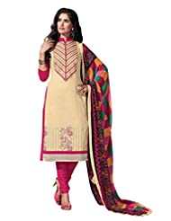 Women's Cream & Pink Embroidered Chanderi Semi Stitched Salwar Suit
