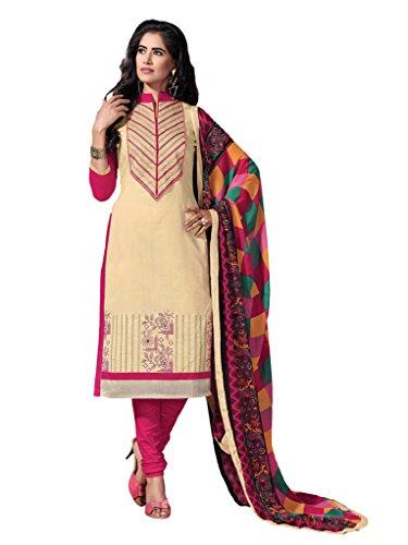 Women's Cream & Pink Embroidered Chanderi Semi Stitched Salwar Suit