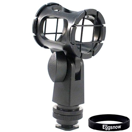 Eggsnow Camera Microphone Shockmount Holder Clip + Hot Shoe Adapter for AKG D230, Senheisser ME66, Rode NTG-2,NTG-1,Audio-Technica AT-875R etc (Mic Hot Shoe Mount compare prices)