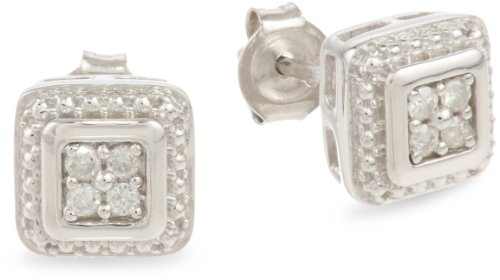 Sterling Silver Diamond Square Earrings (1/10 cttw, I-J Color, I2-I3 Clarity)