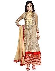 Fabdeal Party Wear Georgette Salwar Suits ( AAIK82SK1007MAR_Beige )