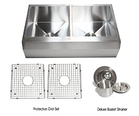 36 Inch Stainless Steel Well Angled Front Farmhouse Apron Kitchen Sink 50/50 Double Bowl with Accessories