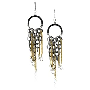 ABS By Allen Schwartz Rock Steady Tri Tone Chandelier Earrings