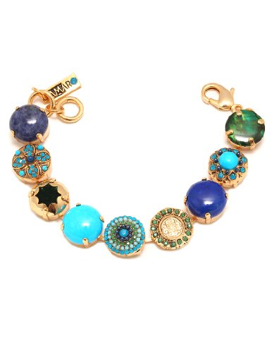 24K Yellow Gold Plated Bracelet from 'Inspiration' Collection by Israeli Amaro Jewelry Studio Set with Sodalite, Amazonite, Malachite,Turquoise, Jadeite, Lapis-Lazurite, Nephrite, Chrysocolla, Swarovski Crystals
