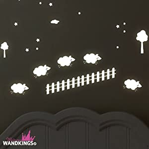 """Adhesivos de pared luminosos Wandkings """"Contar ovejitas"""" 134 adhesivos en 2 hojas DIN A4, fluorescentes y brillantes en la oscuridad"""