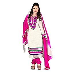 Vardhman Synthetics Women's Embroidered Unstitched Anarkali Dress Material (White_Free Size)