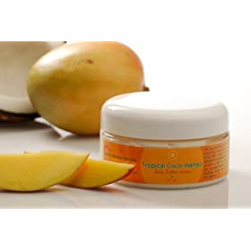 Tropical Coco-Mango Body Butter Cream with Shea Butter and Cocoa Butter. Also contains green tea with antioxidant properties and Vitamins C and E. Contents 8.0 fl.oz/237 ml