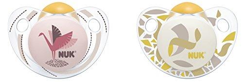 NUK 10173072 Trendline Latex-Schnuller, Größe 3, 18-36 Monate, kiefergerechte Form, BPA frei, 2 Stück, Girl