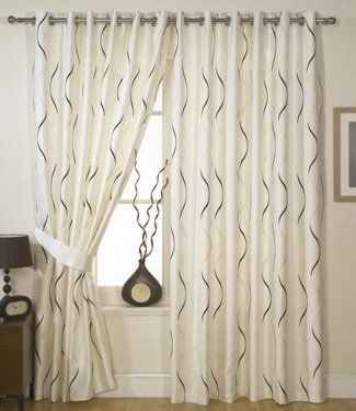 Cream Chocolate Curtains - Embroidered Faux Waves - 90'' x 108''