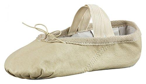 Ballettschläppchen aus Leder, ganze Ledersohle, sandfarben