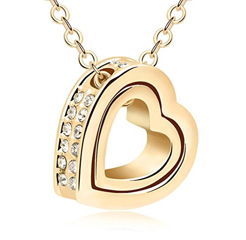 Double Heart With Clear Swarovski Cubic Zirconia Elements Crystal Pendant Necklace Fashion Jewelry For Women (Gold)