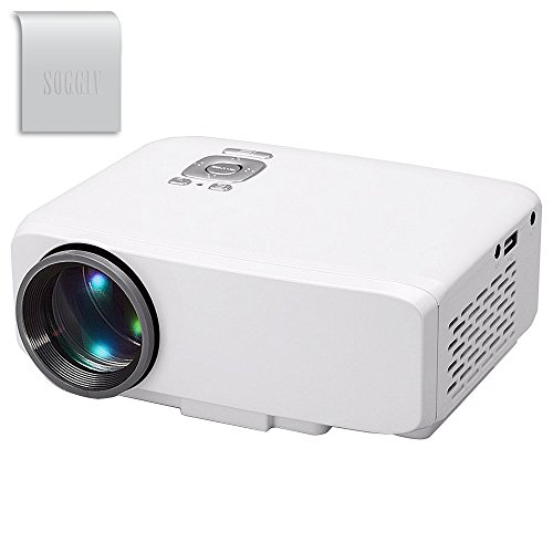 Soggiv GP9S Full HD 1080p LED Mini Portable Projector for Home Theatre Video Games TV Movie TXT Music Multimeadia Projector Support HDMI/USB/AV/SD/VGA/ Interface - White