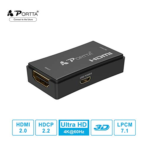 Portta HDMI 2.0 Repeater 25m UHD 4K@60Hz (YUV 4:4:4) 3D HDMI 2.0 Extender/Signal Amplifier/Booster/Adapter Support HDR HDCP2.2 CEC for PS4 PRO/Xbox One/Roku/Apple TV/Fire TV