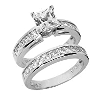 2.05 Ct Diamond Engagement Ring Solitaire Bridal Set Round Princess Cut Channel
