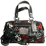 Coach Graffiti Hearts Sabrina Duffle Bag Purse Tote 16200 Black Multi
