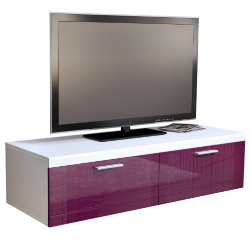 TV Stand Unit Atlanta in White / Raspberry High Gloss Black Friday & Cyber Monday 2014