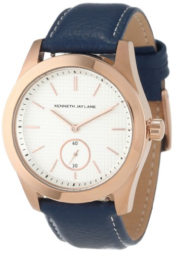 Kenneth Jay Lane Women's KJLANE-2310S-03C 2300 Series White Textured Dial Blue Leather Watch