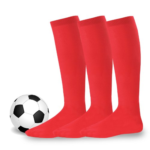 Soxnet Soccer Sports Team 3-pair Cushion Socks-Red, Youth (5-7) (Red Football Socks compare prices)