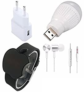 Karbonn Mach One Titanium S310 Compatible Ceritfied Mobile Care Combo Kit of USB Charging Adapter, USB Bulb(5 Watts - use in any USB port), Metal Stereo Earphones, Touch Screen LED Watch