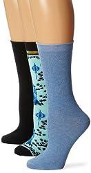 Ozone Women's East Meets West 3 Pack Crew Socks, Black/Heather Denim, One Size