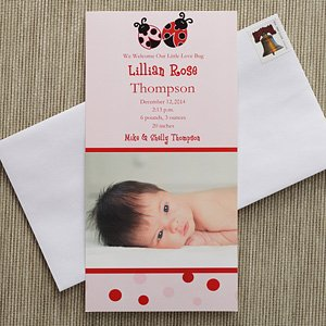 Baby Girl Personalized Photo Birth Announcements - Love Bug front-953475