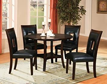 Furniture2go UFE-9423 Verona 5pc Dining Table Set - Dining Table with 4 Chairs - Dark Brown Table & Black Seat - Solid Wood with Black Boned Leather Seat, Assembly Required