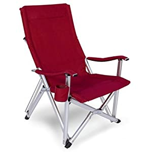 Award Winning Luxury Lightweight All Aluminum Folding Lawn Chair Red Wine Featuring 600d Washable And Mildew Resistant Polyester Fabric With Matching Padded Arm Rests Cup Holder And A Carry Bag With Shoulder Straps by World Outdoor Products