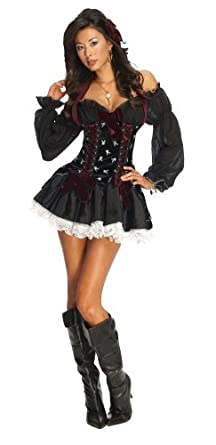 Secret Wishes Women's Playboy Swashbuckler Sexy Pirate Costume, Black, X-Small