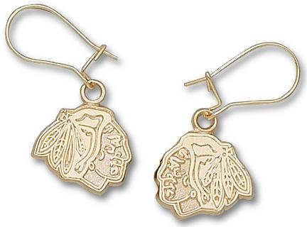 "Chicago Blackhawks 3/8"" Logo Dangle Earrings - Gold Plated Jewelry"