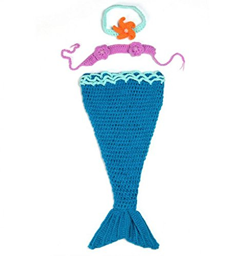 AllHeartDesires Baby Girl Crochet Mermaid Costume Photo Prop Cocoon Headband Set