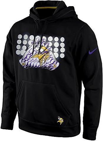 Nike Minnesota Vikings NFL Glove Lock Up Lights Pullover Therma-Fit KO Hoodie (Black, Large) (Minnesota Vikings Gloves Nike)