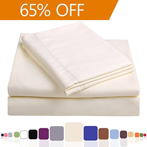 Balichun Hypoallergenic Microfiber Queen Bed Sheet Set with 18-Inch Deep Pocket, Ivory (Set of 4) (Bed Sheets Deep Pocket Queen compare prices)