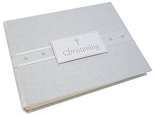 """white cotton cards - Álbum de fotos para bautizo, diseño con texto """"Christening"""" y perlas - BebeHogar.com"""