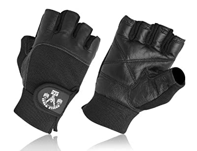 Authentic Muscle Works Gym London Leather Weight Lifting Gloves Black by MET-X