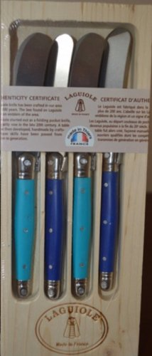 Jean Dubost Laguiole 4-Piece Spreaders, Turquoise & Navy Blue