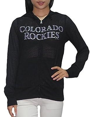 Womens COLORADO ROCKIES Athletic Zip-Up Mesh Glitter Lightweight Hoodie