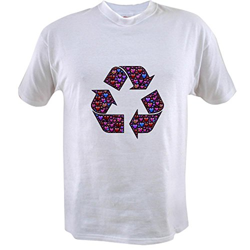 Truly Teague Value T-Shirt I Love to Recycle Symbol with Hearts - Medium