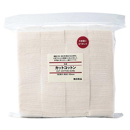 MUJI Lot de 180 rectangles de coton non blanchi de maquillage pour le visage Doux 60 x 50 mm