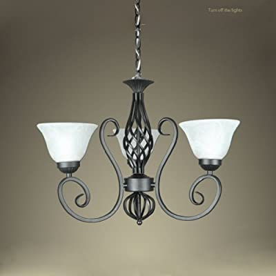LightInTheBox Vintage Painting Finish Pendant Light LED Chandelier Wrought Iron Creative European-Style Decorative Lighting Lamps for Kitchen, Dining Room Home Color=Black