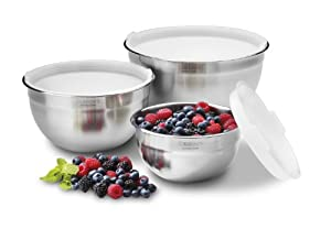 Cuisinart Stainless Steel Mixing Bowls with Lids, Set of 3 CTG-00-SMB by Cuisinart
