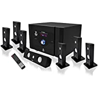 Pyle PT798SBA 350W 7.1-Channel Home Theater System with Wireless Subwoofer & Bluetooth (Black)